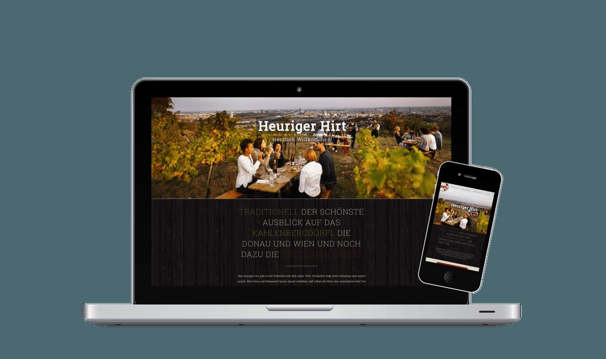Heuriger Hirt Webseite - PKOM Online Werbeagentur Wien