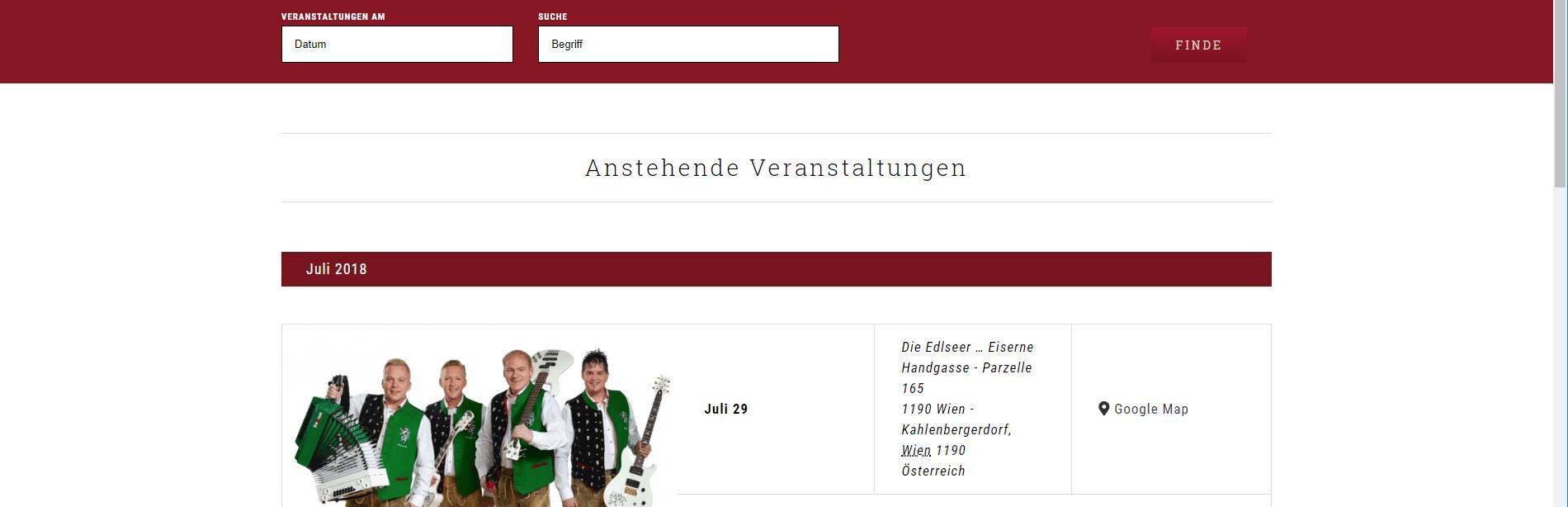 Webseiten Erstellung Heuriger Hirt Veranstalungen - PKOM Webagentur Wien