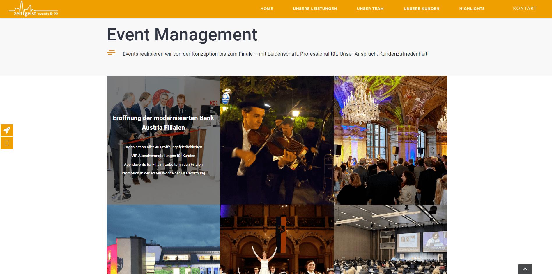 Webseiten Erstellung Zeitgeist Bildergalerie - PKOM Webagentur Wien