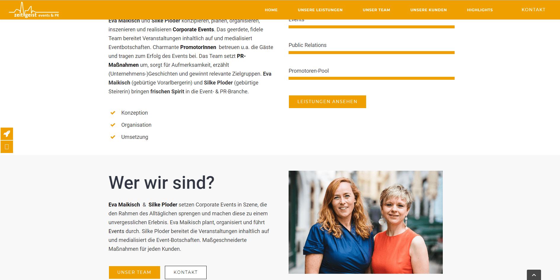 Webseiten Erstellung Zeitgeist Startseite - PKOM Webagentur Wien