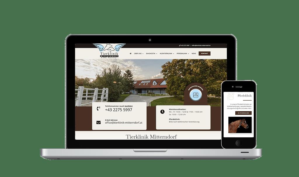 Website Erstellung und SEO Tierklinik Mitterndorf - PKOM Online Werbeagentur Wien