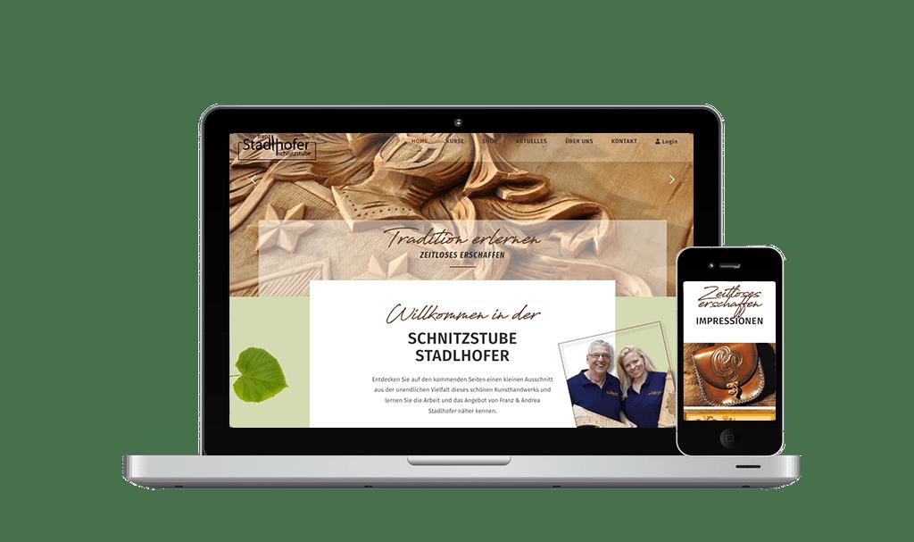 Website & Webshop Erstellung und SEO Franz Stadlhofer Schnitzstube - PKOM Online Werbeagentur Wien